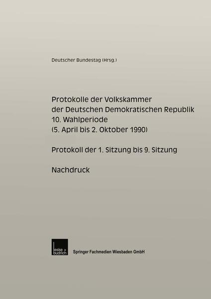 Protokolle der Volkskammer der Deutschen Demokratischen Republik - Coverbild