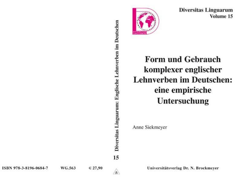Form und Gebrauch komplexer englischer Lehnverben im Deutschen: eine empirische Untersuchung - Coverbild