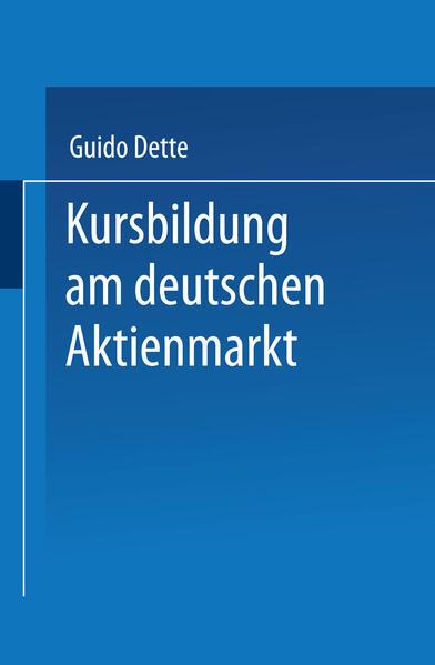 Kursbildung am deutschen Aktienmarkt - Coverbild