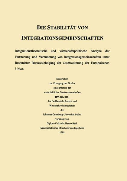 Die Stabilität von Integrationsgemeinschaften - Coverbild