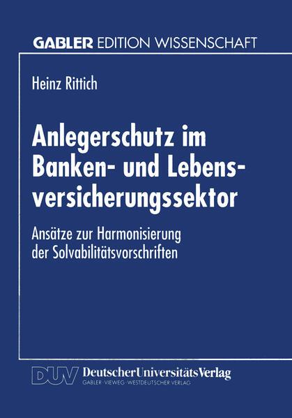 Anlegerschutz im Banken- und Lebensversicherungssektor - Coverbild