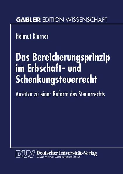 Das Bereicherungsprinzip im Erbschaft- und Schenkungsteuerrecht - Coverbild