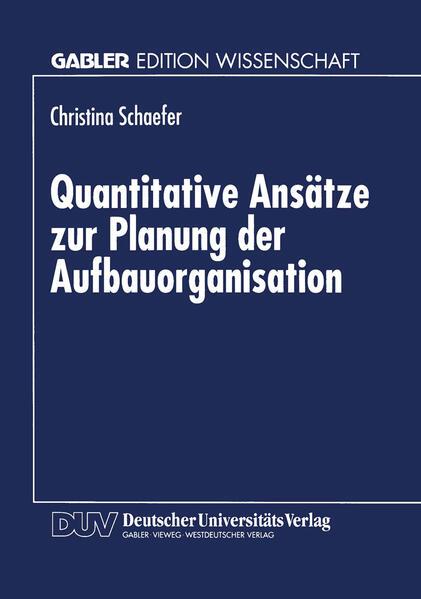 Quantitative Ansätze zur Planung der Aufbauorganisation - Coverbild