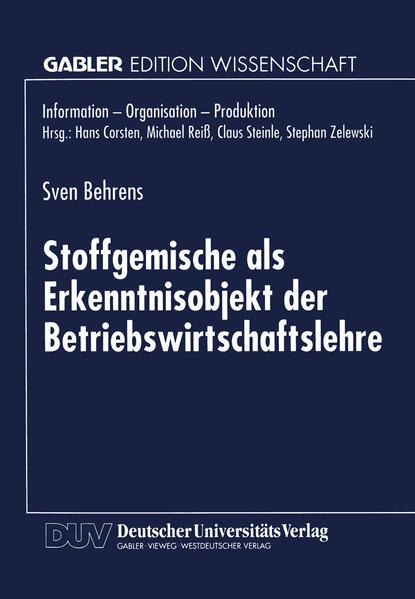 Stoffgemische als Erkenntnisobjekt der Betriebswirtschaftslehre - Coverbild