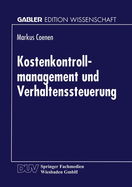Kostenkontrollmanagement und Verhaltenssteuerung - Coverbild