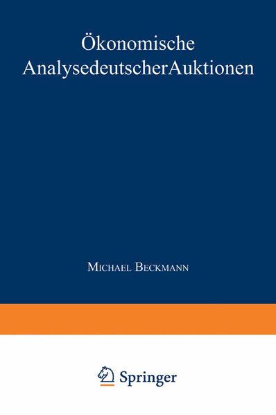 Ökonomische Analyse deutscher Auktionen - Coverbild