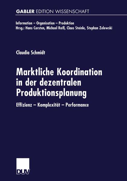Marktliche Koordination in der dezentralen Produktionsplanung - Coverbild