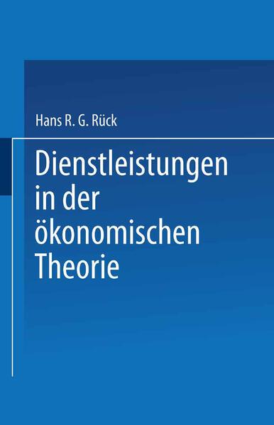 Dienstleistungen in der ökonomischen Theorie - Coverbild