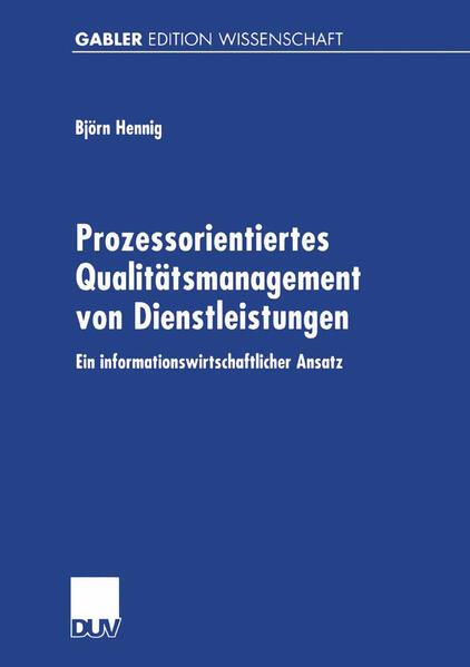 Prozessorientiertes Qualitätsmanagement von Dienstleistungen - Coverbild