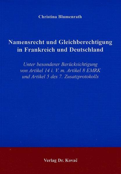 Namensrecht und Gleichberechtigung in Frankreich und Deutschland - Coverbild