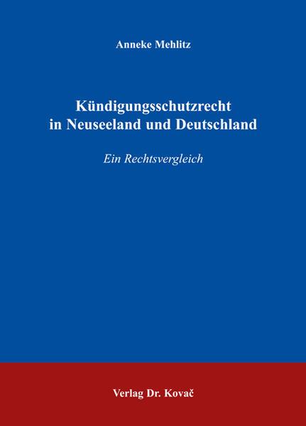 Kündigungsschutzrecht in Neuseeland und Deutschland - Coverbild