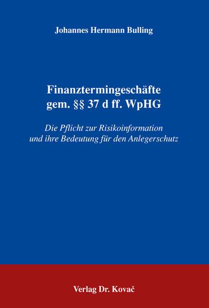 Finanztermingeschäfte gem. §§ 37 d ff. WpHG - Coverbild