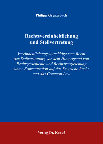 Rechtsvereinheitlichung und Stellvertretung - Coverbild