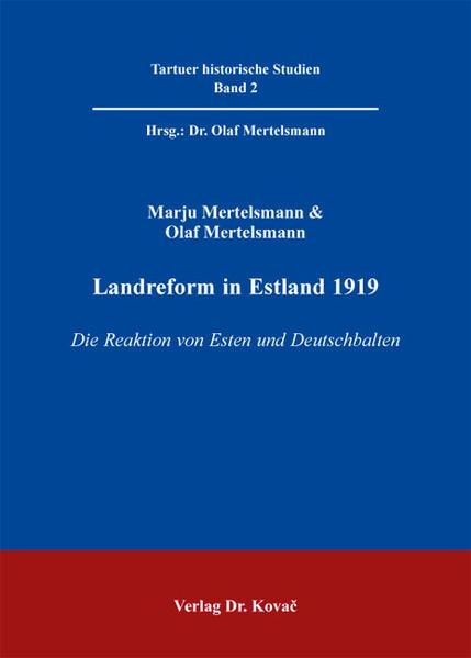 Landreform in Estland 1919 - Coverbild