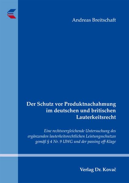 Der Schutz vor Produktnachahmung im deutschen und britischen Lauterkeitsrecht - Coverbild