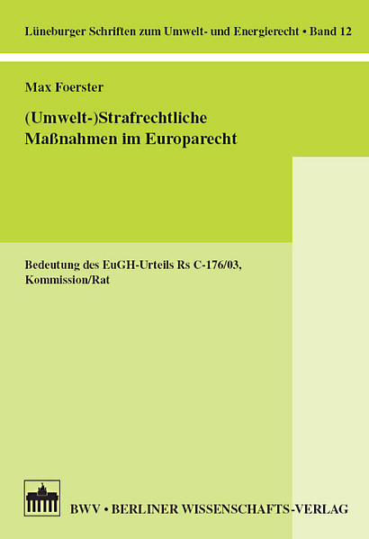 (Umwelt-) Strafrechtliche Maßnahmen im Europarecht - Coverbild