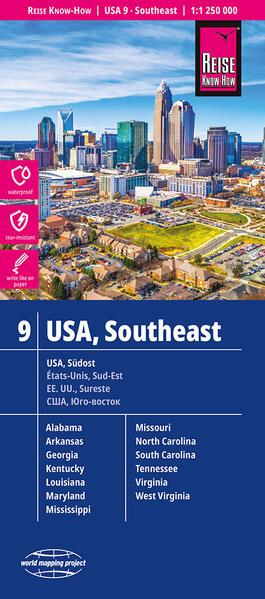 Reise Know-How Landkarte USA 09, Südost (1:1.250.000) : Missouri, Kentucky, West Virginia, South Carolina, ... - Coverbild