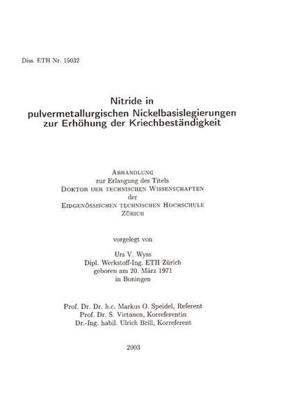 Nitride in pulvermetallurgischen Nickelbasislegierungen zur Erhöhung der Kriechbeständigkeit - Coverbild