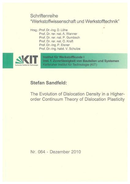 The Evolution of Dislocation Density in a Higher-order Continuum Theory of Dislocation Plasticity - Coverbild