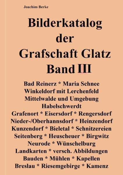 Bilderkatalog der Grafschaft Glatz Band III - Coverbild