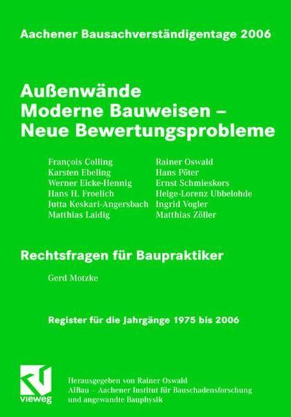 Aachener Bausachverständigentage 2006 - Coverbild