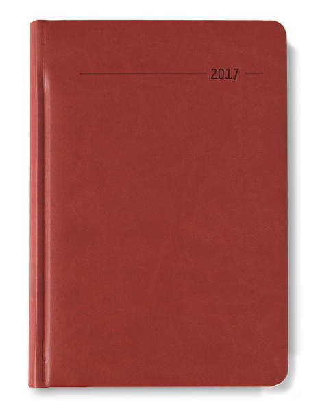 Buchkalender A5 416 Seiten Tucson rot 2017 - 1 Tag 1 Seite - Coverbild
