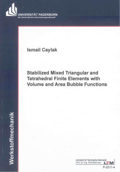 Stabilized Mixed Triangular and Tetrahedral Finite Elements with Volume and Area Bubble Functions - Coverbild