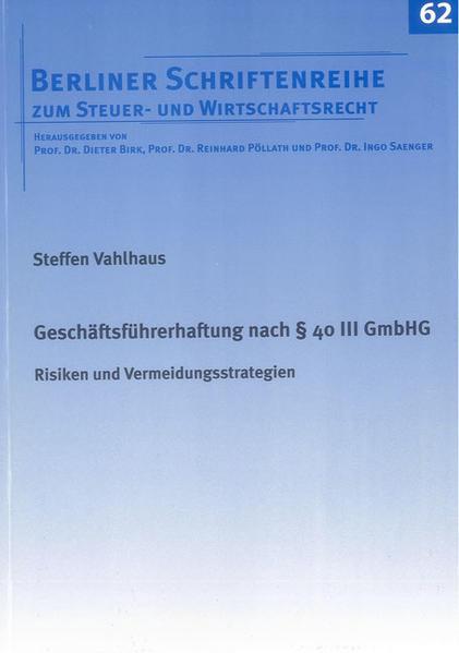 Geschäftsführerhaftung nach § 40 III GmbHG - Coverbild