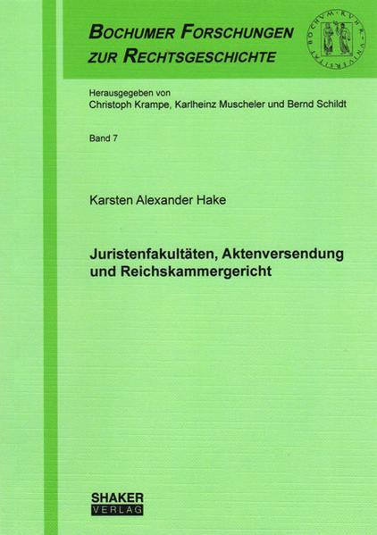 Juristenfakultäten, Aktenversendung und Reichskammergericht - Coverbild