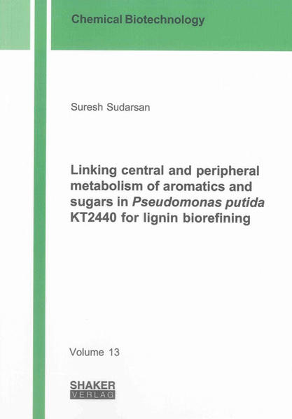 Linking central and peripheral metabolism of aromatics and sugars in Pseudomonas putida KT2440 for lignin biorefining - Coverbild