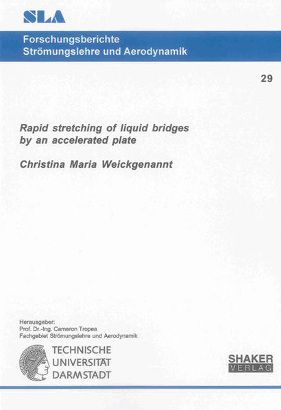 Rapid stretching of liquid bridges by an accelerated plate - Coverbild