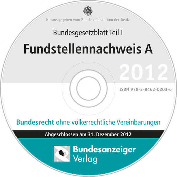 BGBL Fundstellennachweis A 2012 CD-ROM - Coverbild
