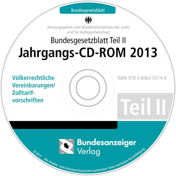Bundesgesetzblatt Teil II Jahrgangs-CD-ROM 2013 - Coverbild