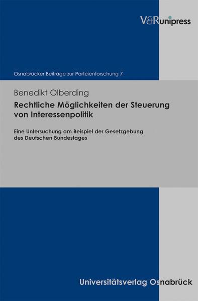 Rechtliche Möglichkeiten der Steuerung von Interessenpolitik - Coverbild