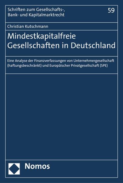Mindestkapitalfreie Gesellschaften in Deutschland - Coverbild