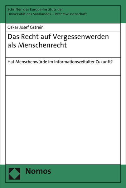 Das Recht auf Vergessenwerden als Menschenrecht - Coverbild