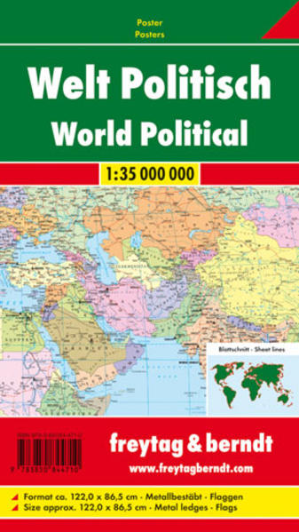 Welt politisch, 1:35 Mill., Poster metallbestäbt - Coverbild