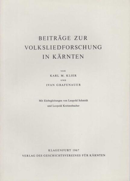Beiträge zur Volksliedforschung in Kärnten - Coverbild