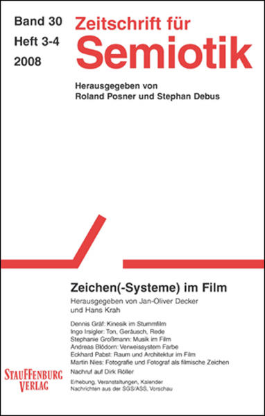 Zeitschrift für Semiotik / Zeichen(-Systeme) im Film - Coverbild