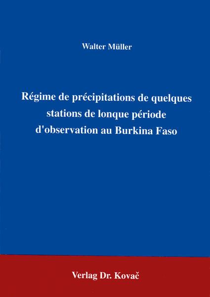 Régime de précipitations de quelques stations de lonque période d'observation au Burkina Faso - Coverbild