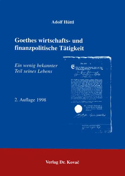 Goethes wirtschafts- und finanzpolitische Tätigkeit - Coverbild