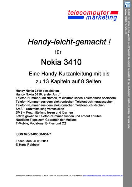 Nokia 3410leicht-gemacht - Coverbild
