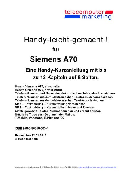 Siemens A70-leicht-gemacht - Coverbild