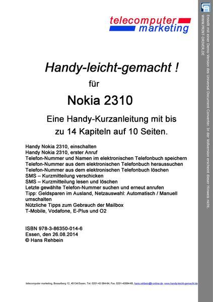 Nokia 2310-leicht-gemacht - Coverbild