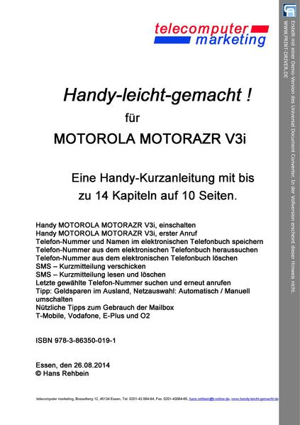 Motorola RAZR V3i-leicht-gemacht - Coverbild