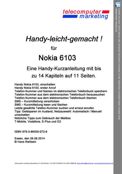 Nokia 6103-leicht-gemacht - Coverbild