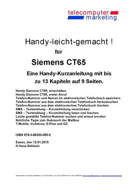 Siemens CT65-leicht-gemacht - Coverbild