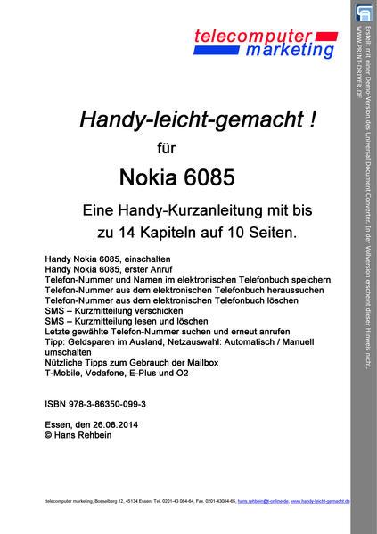 Nokia 6085-leicht-gemacht - Coverbild