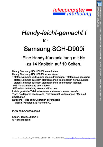 Samsung SGH-D900i-leicht-gemacht - Coverbild