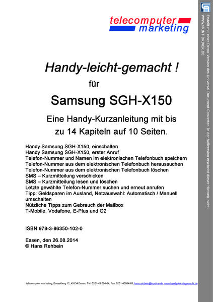 Samsung SGH-X150-leicht-gemacht - Coverbild